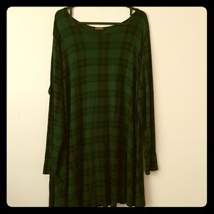 Green tartan long sleeve dress US size 14-16